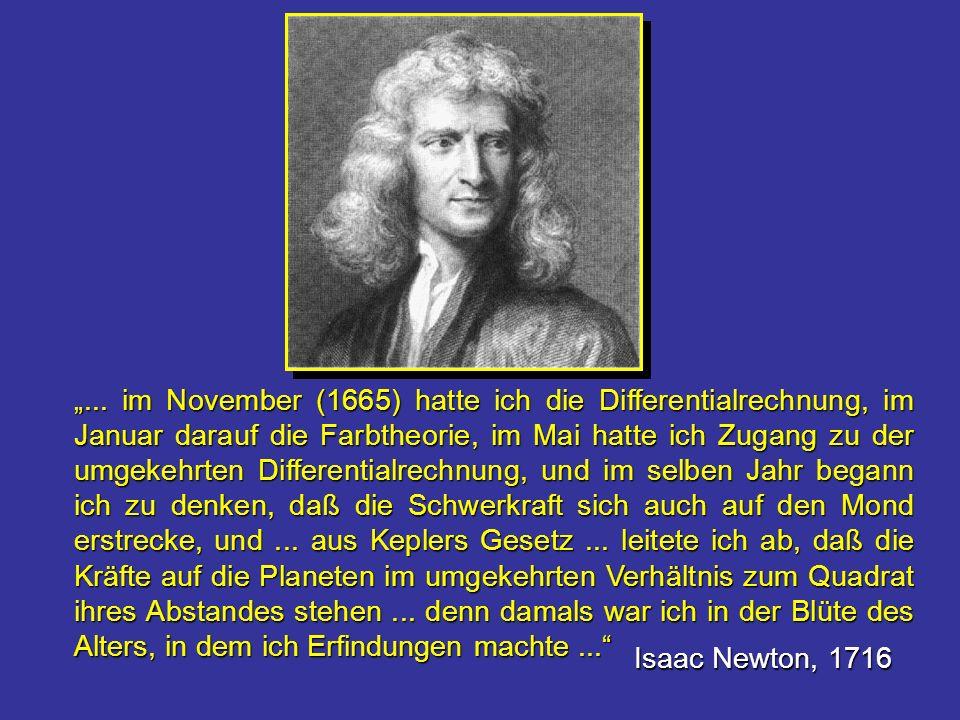"""""""... im November (1665) hatte ich die Differentialrechnung, im Januar darauf die Farbtheorie, im Mai hatte ich Zugang zu der umgekehrten Differentialrechnung, und im selben Jahr begann ich zu denken, daß die Schwerkraft sich auch auf den Mond erstrecke, und ... aus Keplers Gesetz ... leitete ich ab, daß die Kräfte auf die Planeten im umgekehrten Verhältnis zum Quadrat ihres Abstandes stehen ... denn damals war ich in der Blüte des Alters, in dem ich Erfindungen machte ..."""