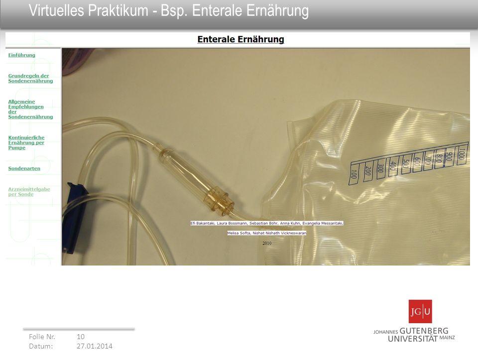 Virtuelles Praktikum - Bsp. Enterale Ernährung