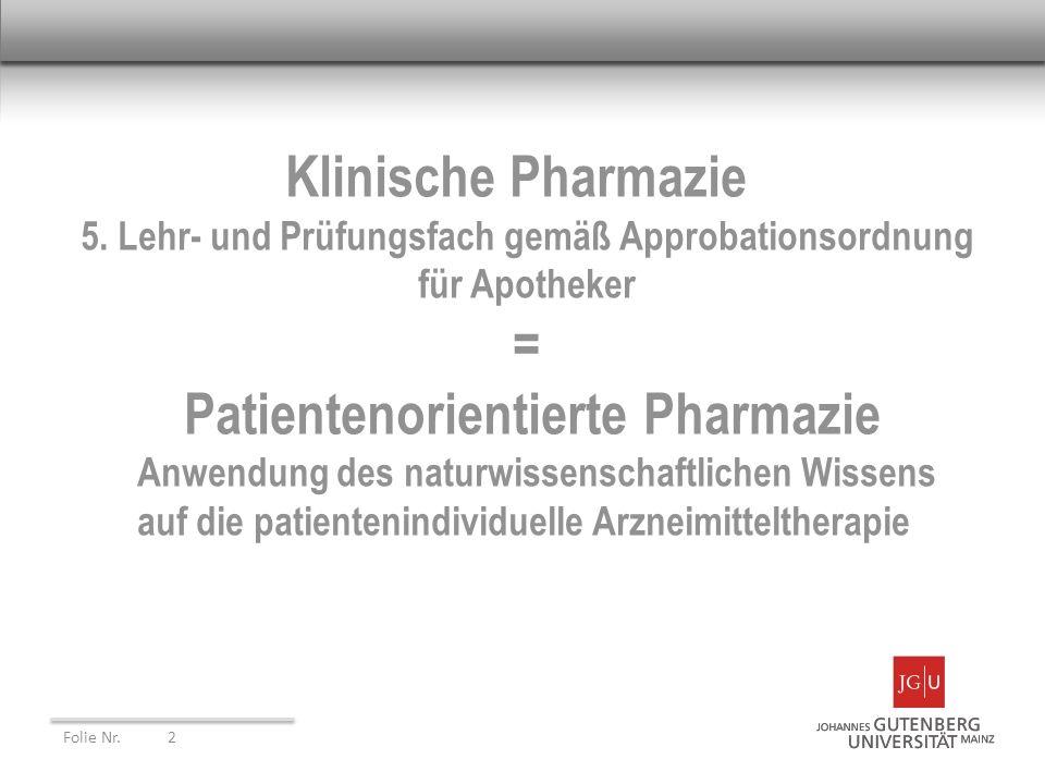 Klinische Pharmazie 5. Lehr- und Prüfungsfach gemäß Approbationsordnung für Apotheker =