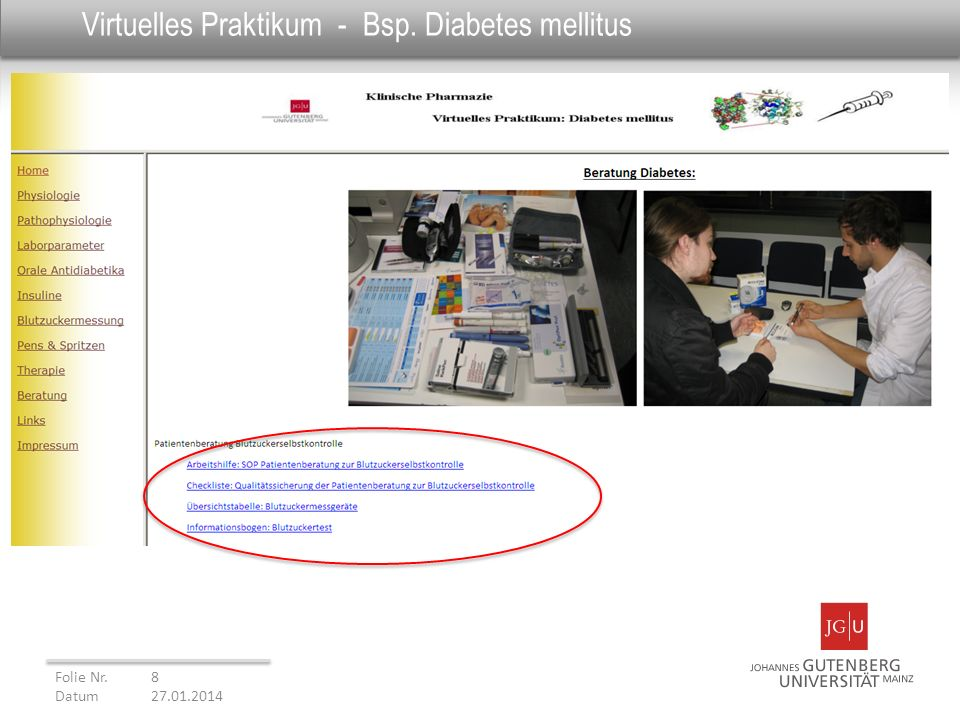 Virtuelles Praktikum - Bsp. Diabetes mellitus