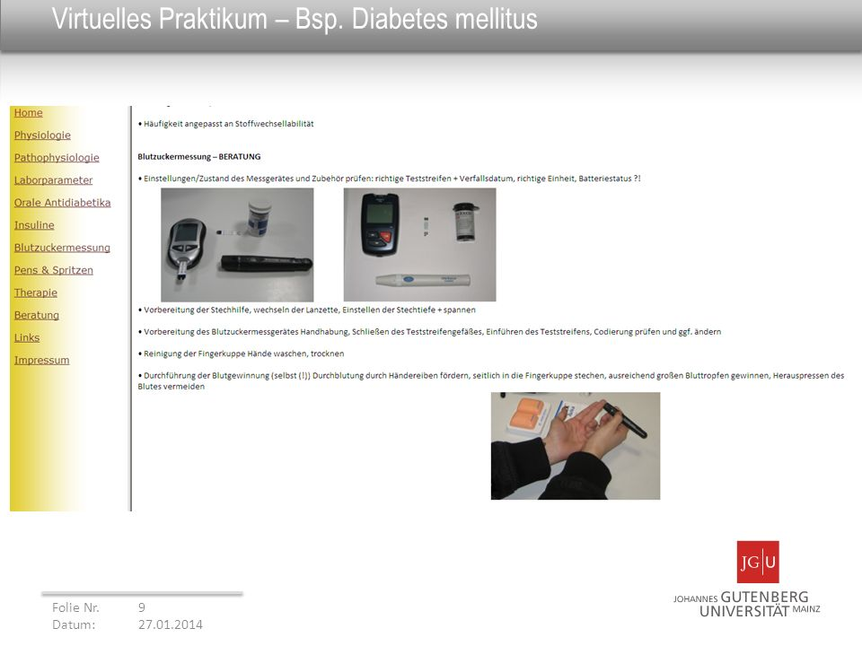 Virtuelles Praktikum – Bsp. Diabetes mellitus