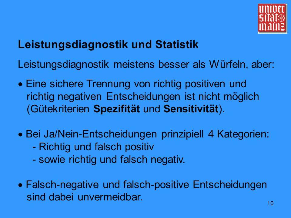 Leistungsdiagnostik und Statistik