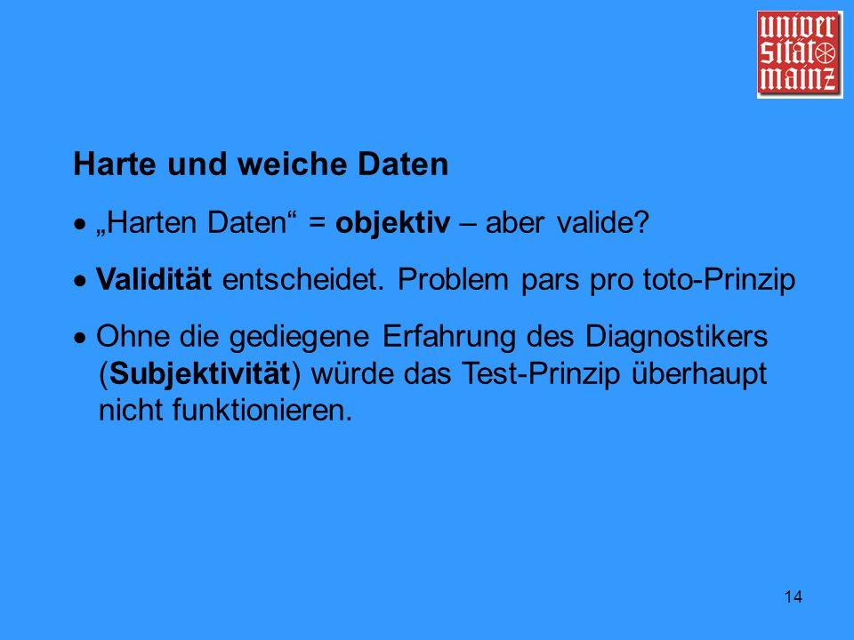 """Harte und weiche Daten  """"Harten Daten = objektiv – aber valide"""