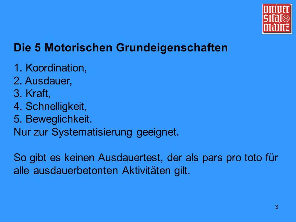 Die 5 Motorischen Grundeigenschaften
