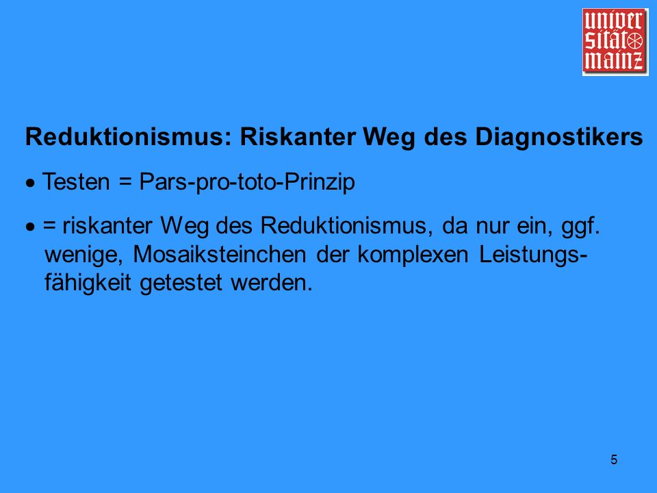 Reduktionismus: Riskanter Weg des Diagnostikers