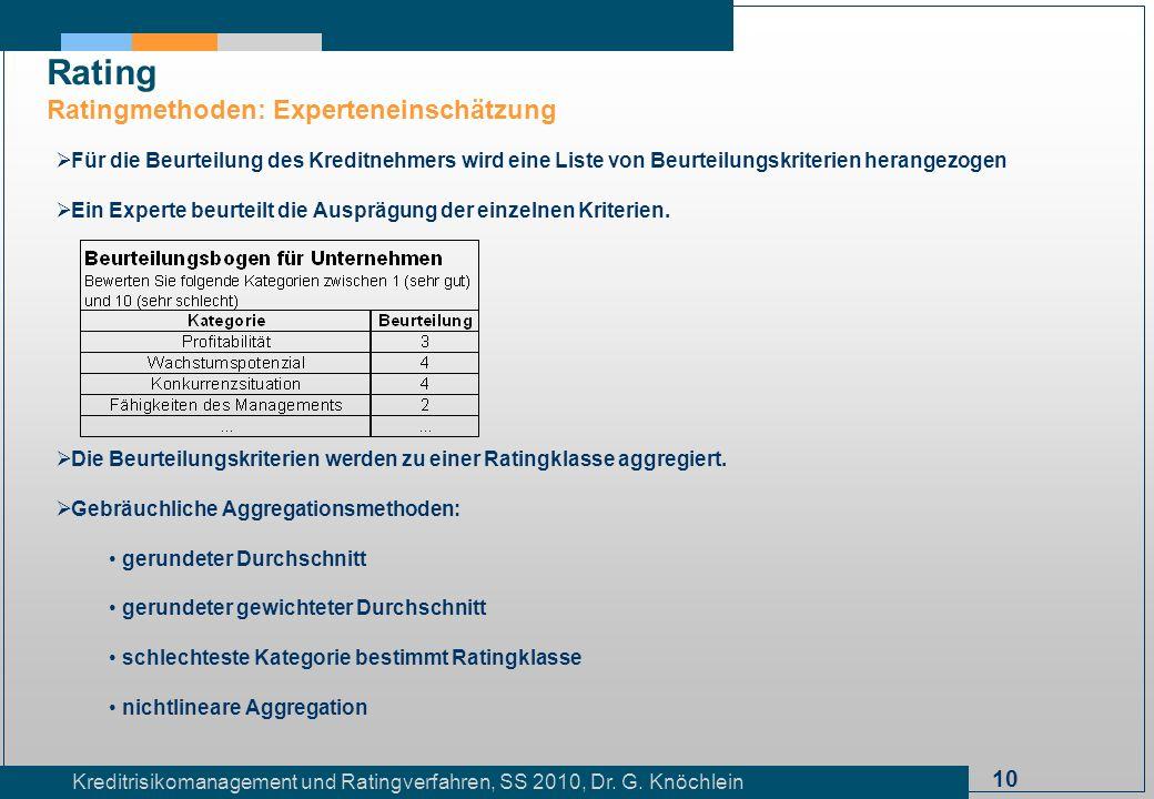 Rating Ratingmethoden: Experteneinschätzung