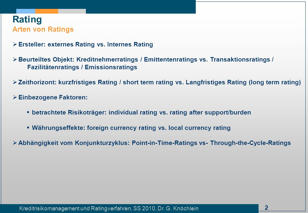 Rating Arten von Ratings