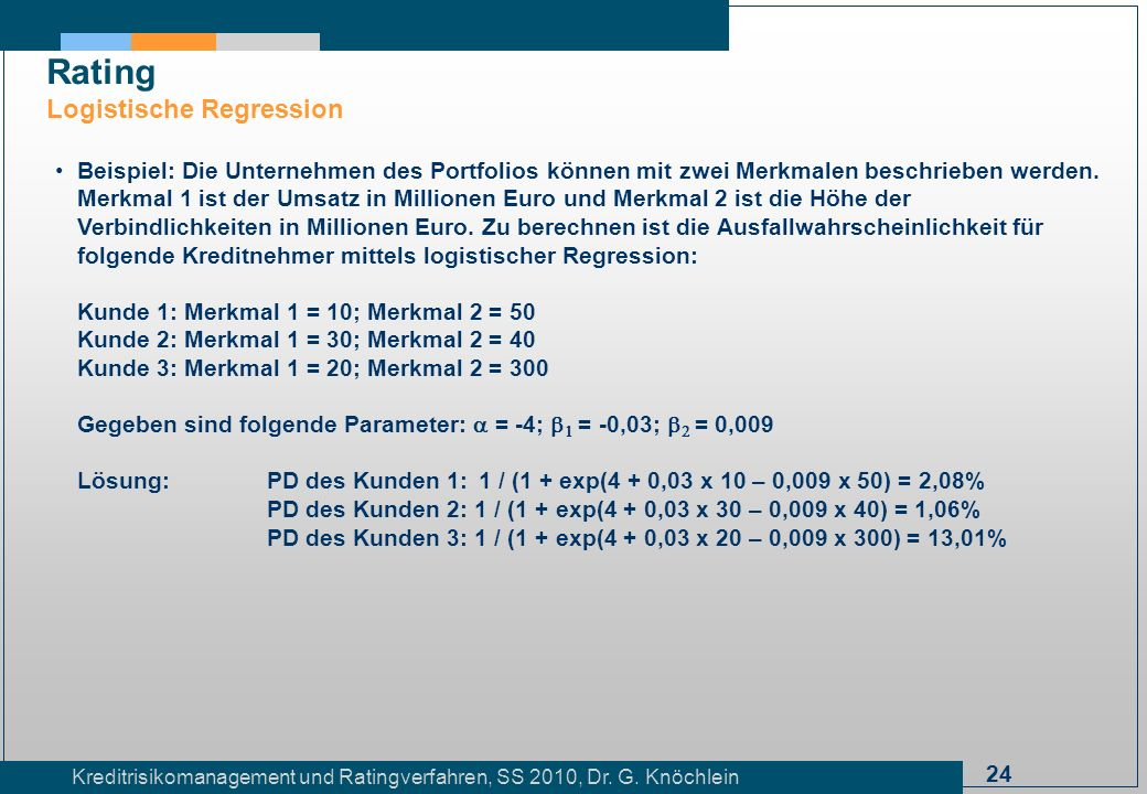 Rating Logistische Regression