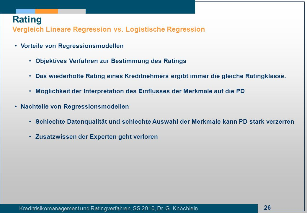 Rating Vergleich Lineare Regression vs. Logistische Regression
