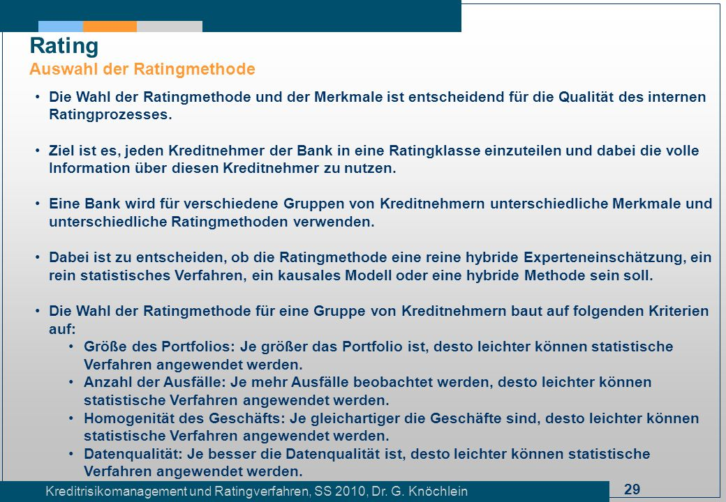Rating Auswahl der Ratingmethode