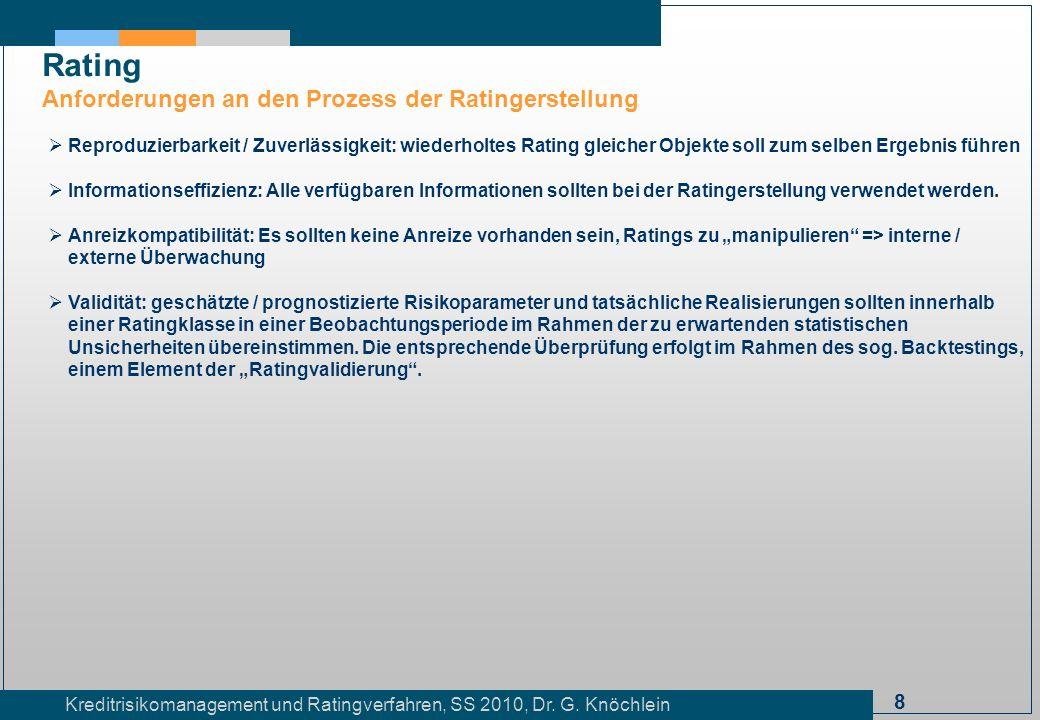 Rating Anforderungen an den Prozess der Ratingerstellung