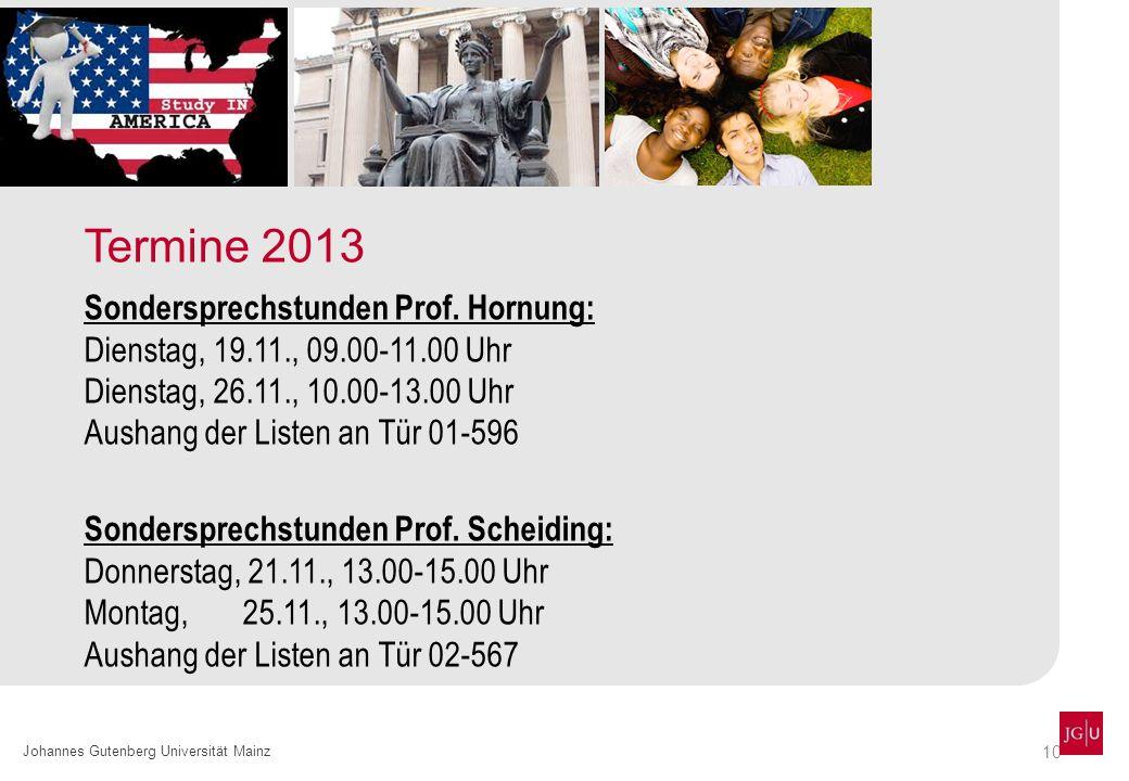 Termine 2013 Sondersprechstunden Prof. Hornung:
