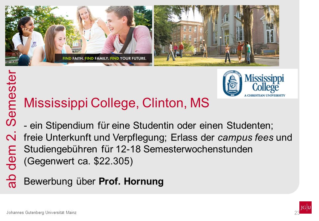 Mississippi College, Clinton, MS ab dem 2. Semester