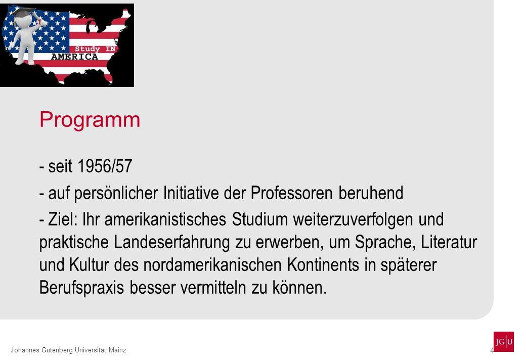 Programm seit 1956/57. auf persönlicher Initiative der Professoren beruhend.