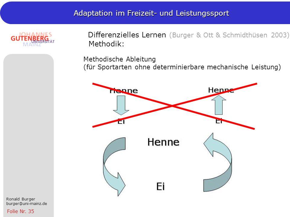 Differenzielles Lernen (Burger & Ott & Schmidthüsen 2003) Methodik: