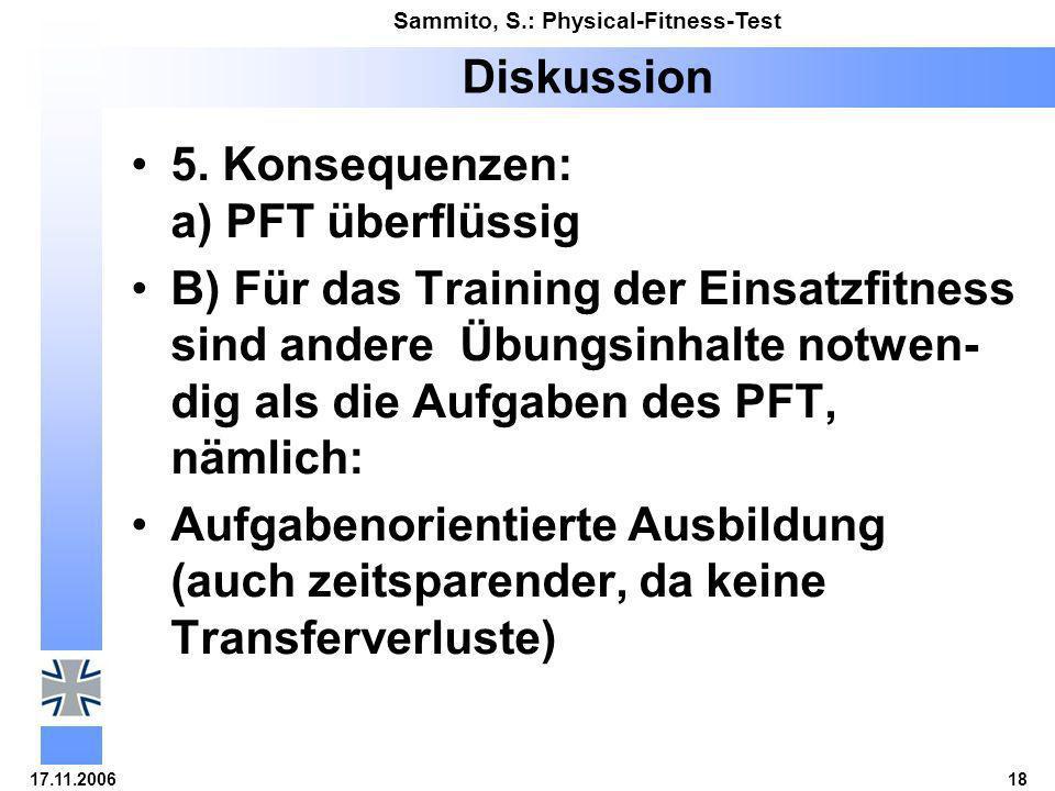 Diskussion 5. Konsequenzen: a) PFT überflüssig.