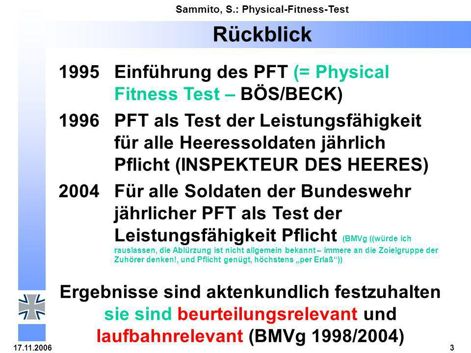 Rückblick 1995 Einführung des PFT (= Physical Fitness Test – BÖS/BECK)