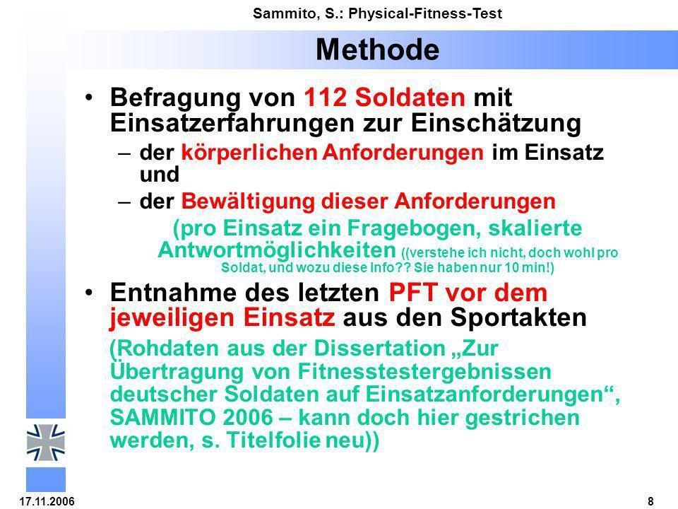 Methode Befragung von 112 Soldaten mit Einsatzerfahrungen zur Einschätzung. der körperlichen Anforderungen im Einsatz und.