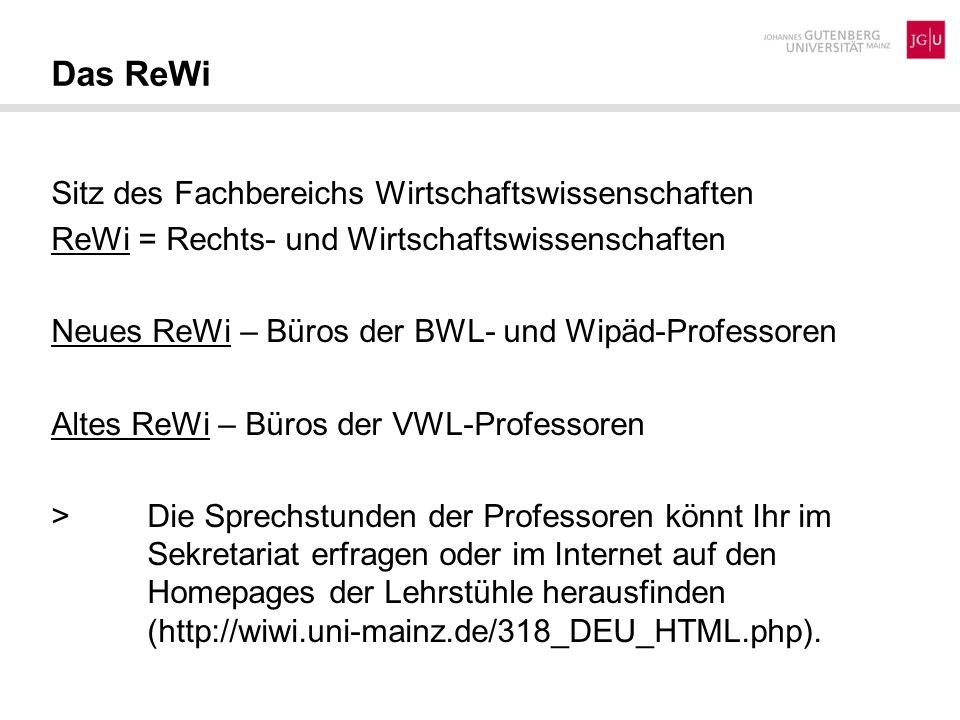 Das ReWi Sitz des Fachbereichs Wirtschaftswissenschaften