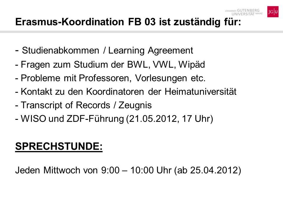- Studienabkommen / Learning Agreement