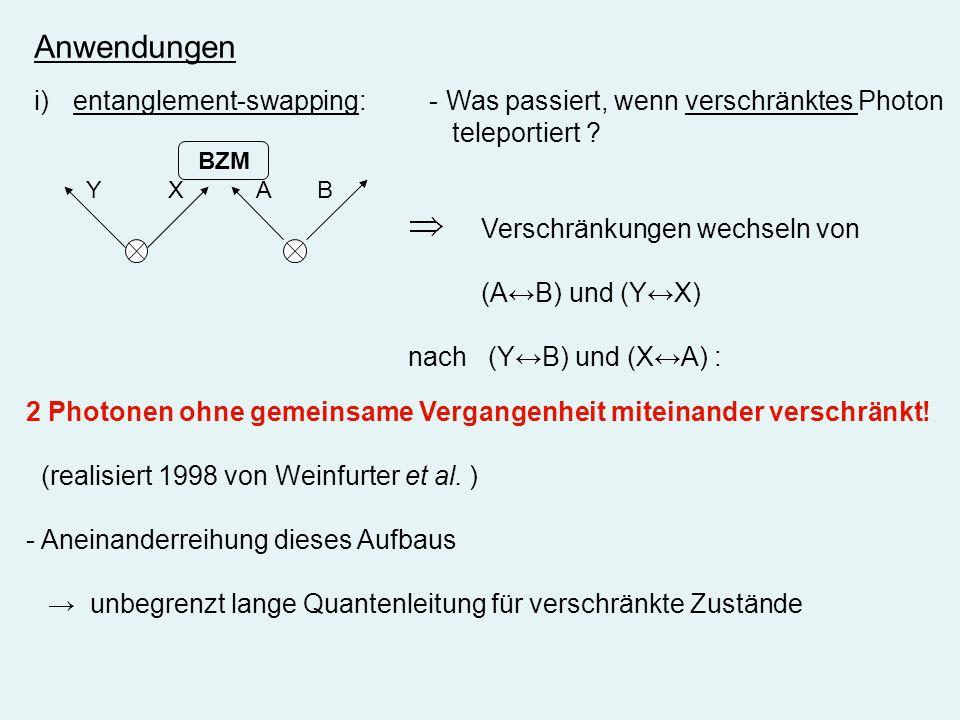 Anwendungen entanglement-swapping: - Was passiert, wenn verschränktes Photon. teleportiert