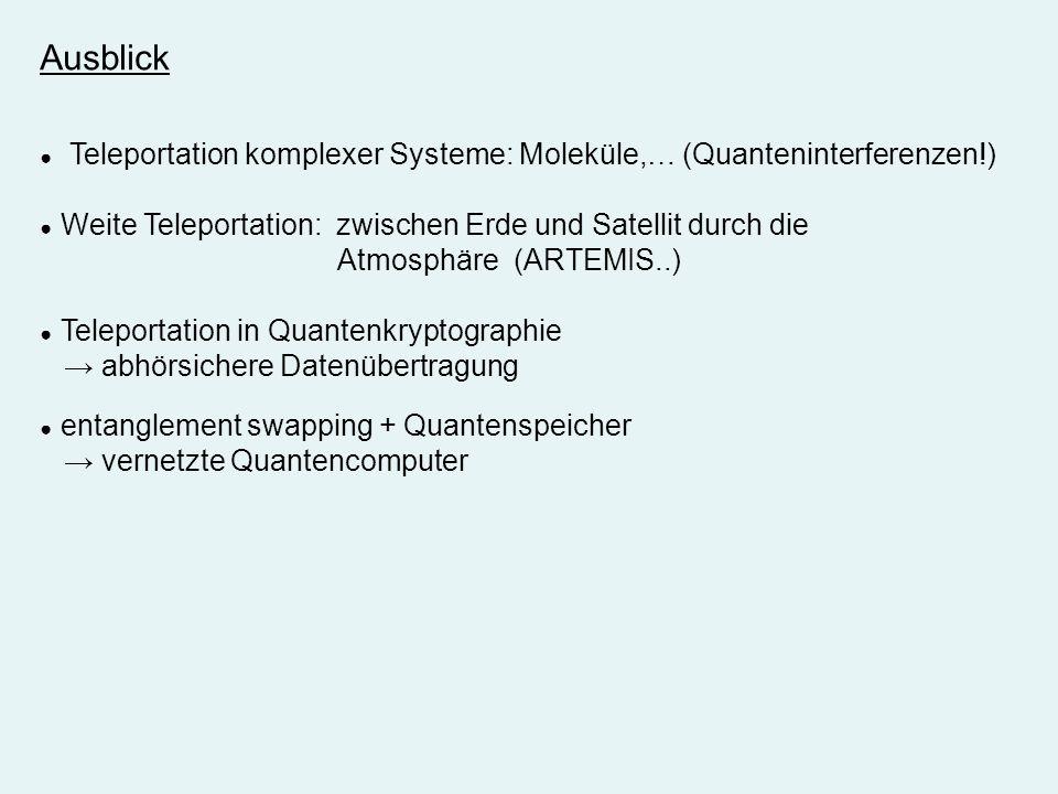 Ausblick Atmosphäre (ARTEMIS..) → abhörsichere Datenübertragung