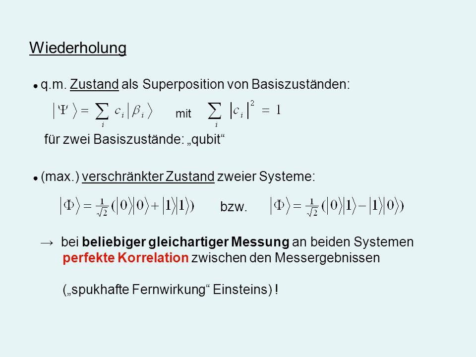 """Wiederholung für zwei Basiszustände: """"qubit bzw."""