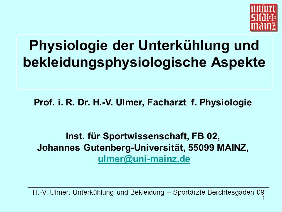 Physiologie der Unterkühlung und bekleidungsphysiologische Aspekte