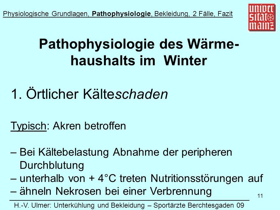Pathophysiologie des Wärme- haushalts im Winter