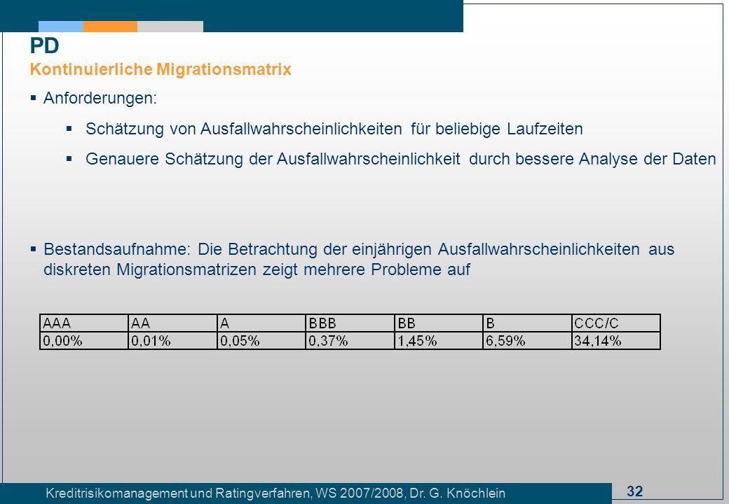 PD Kontinuierliche Migrationsmatrix Anforderungen: