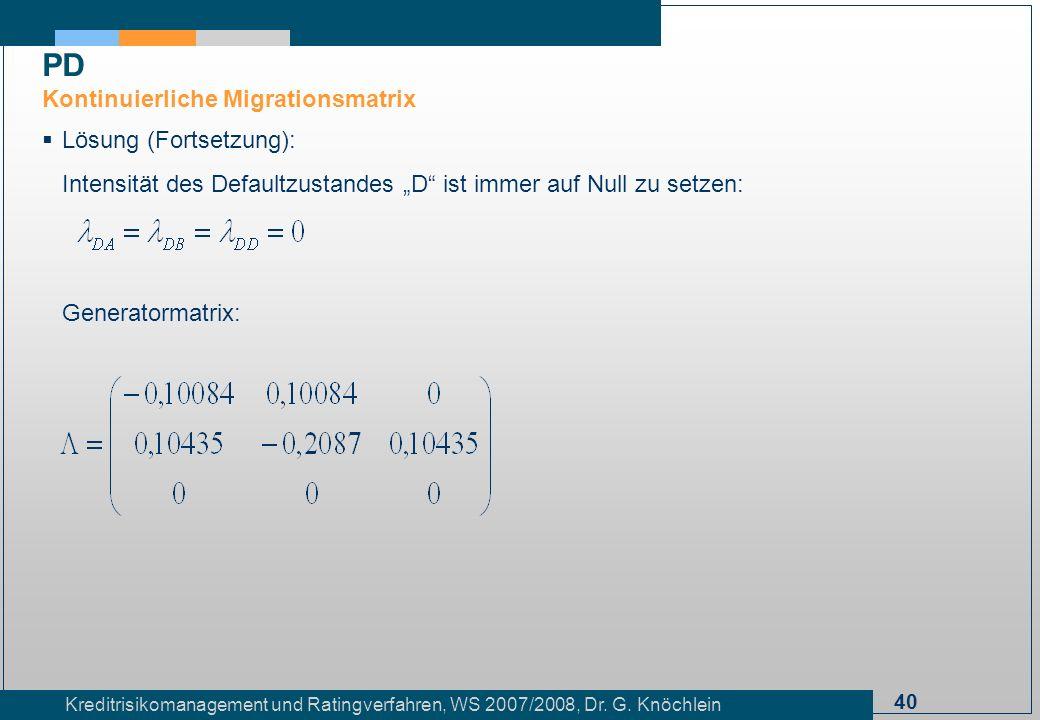PD Kontinuierliche Migrationsmatrix Lösung (Fortsetzung):