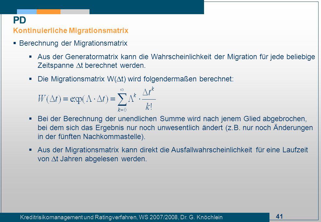 PD Kontinuierliche Migrationsmatrix Berechnung der Migrationsmatrix
