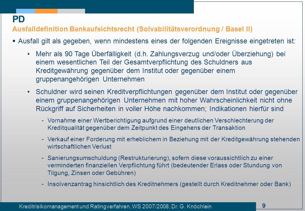PD Ausfalldefinition Bankaufsichtsrecht (Solvabilitätsverordnung / Basel II)