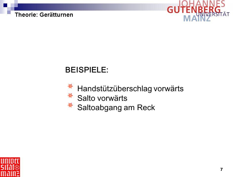 Theorie: Gerätturnen BEISPIELE: Handstützüberschlag vorwärts Salto vorwärts Saltoabgang am Reck.