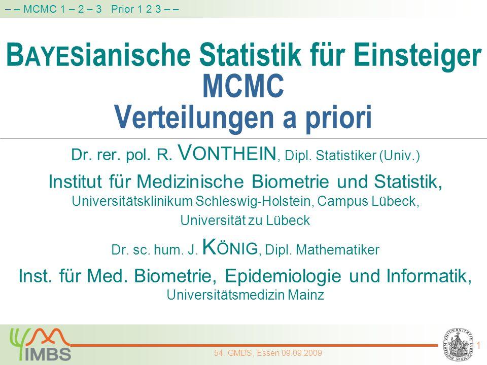 BAYESianische Statistik für Einsteiger MCMC Verteilungen a priori