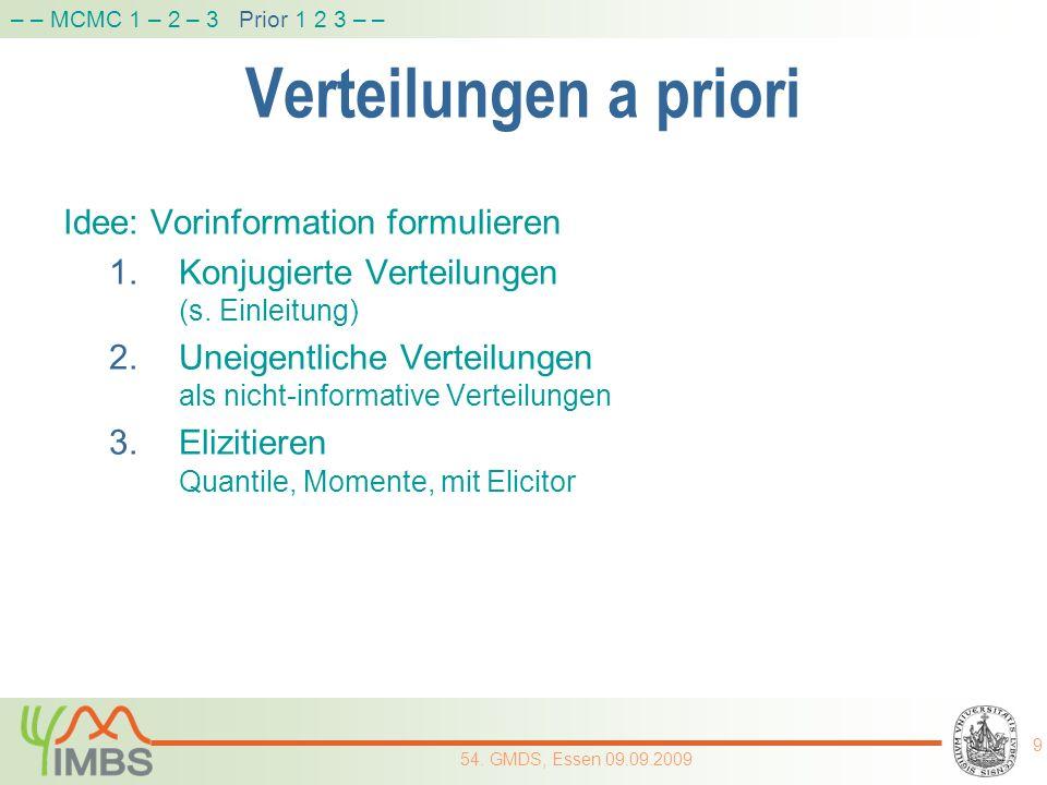 Verteilungen a priori Idee: Vorinformation formulieren