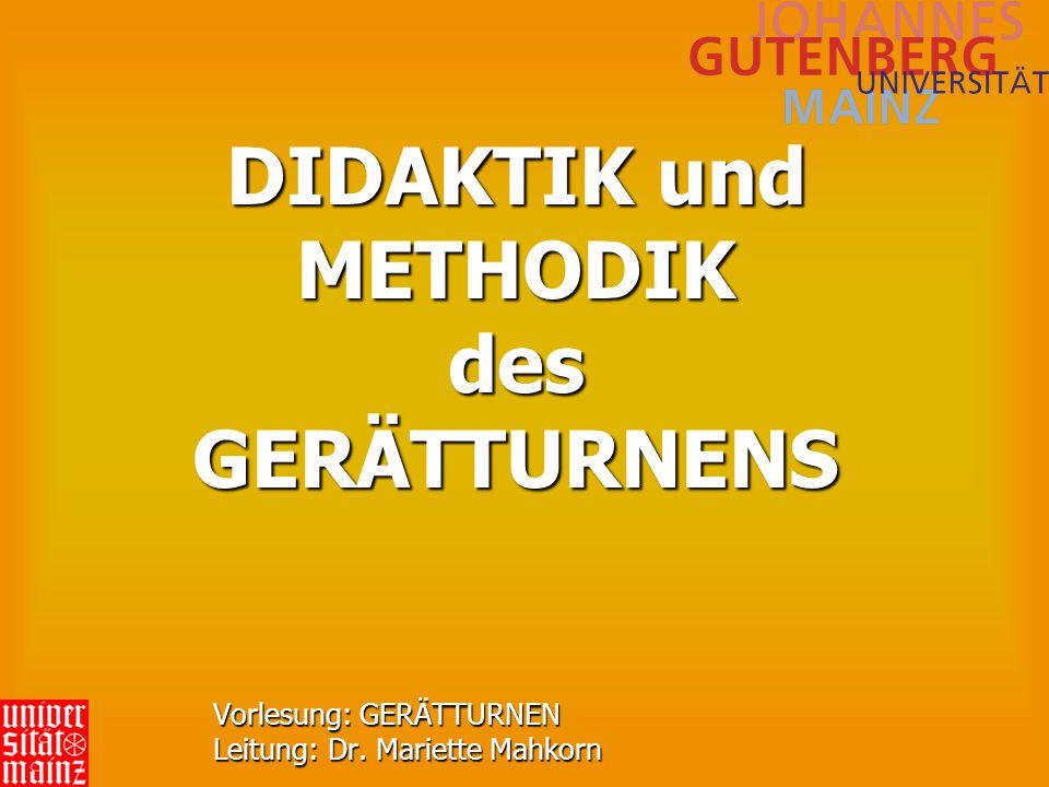 DIDAKTIK und METHODIK des GERÄTTURNENS