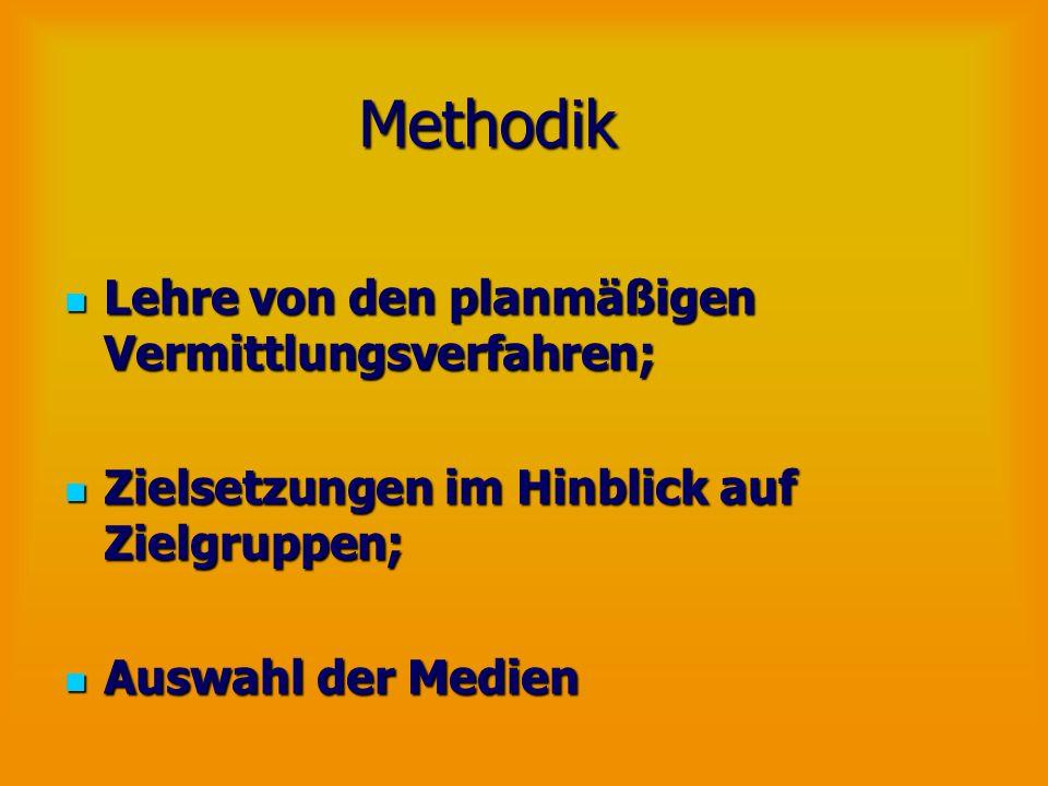 Methodik Lehre von den planmäßigen Vermittlungsverfahren;