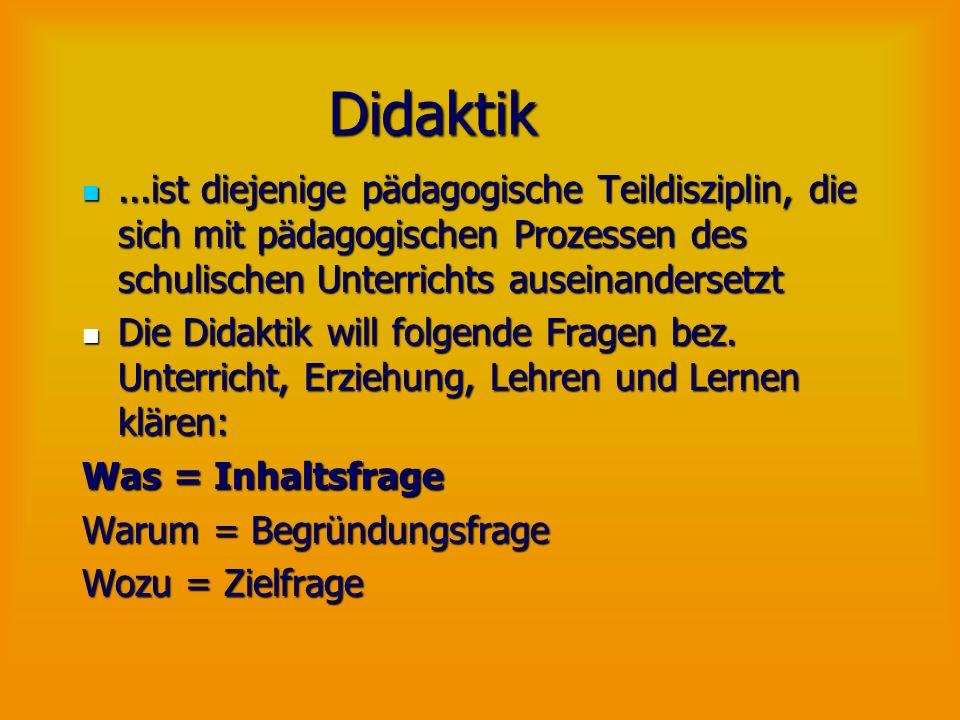 Didaktik ...ist diejenige pädagogische Teildisziplin, die sich mit pädagogischen Prozessen des schulischen Unterrichts auseinandersetzt.