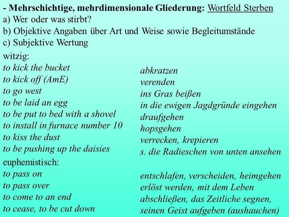 - Mehrschichtige, mehrdimensionale Gliederung: Wortfeld Sterben