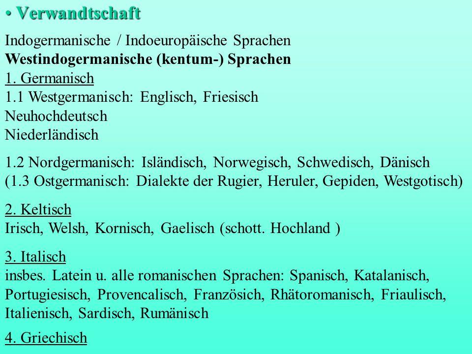 Verwandtschaft Indogermanische / Indoeuropäische Sprachen