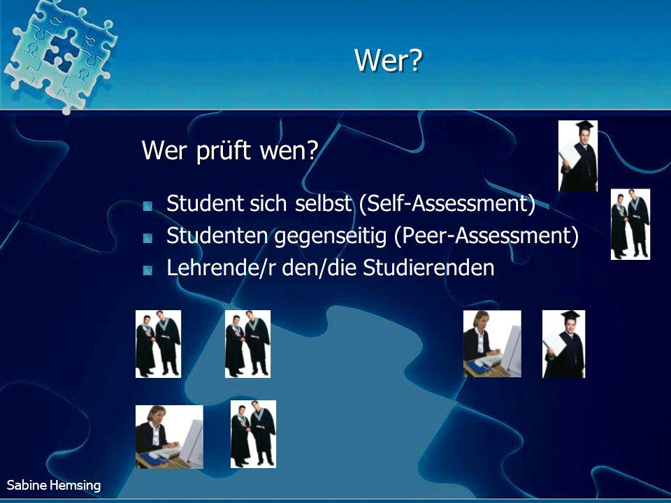 Wer Wer prüft wen Student sich selbst (Self-Assessment)