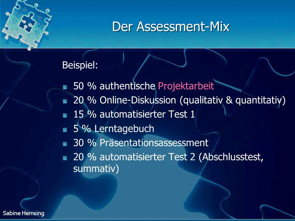 Der Assessment-Mix Beispiel: 50 % authentische Projektarbeit