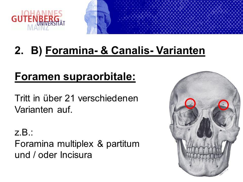 B) Foramina- & Canalis- Varianten Foramen supraorbitale: