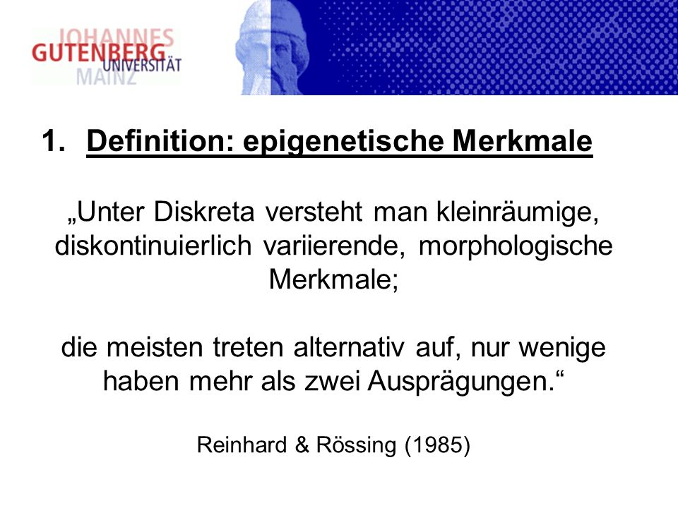 Definition: epigenetische Merkmale