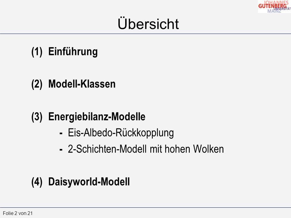 Übersicht Einführung Modell-Klassen Energiebilanz-Modelle