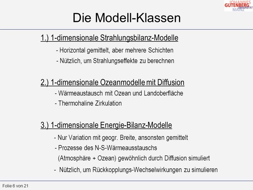 Die Modell-Klassen 1.) 1-dimensionale Strahlungsbilanz-Modelle