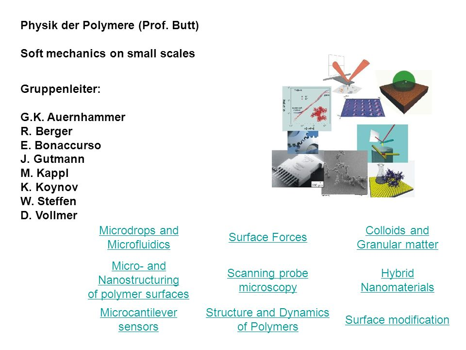Physik der Polymere (Prof. Butt) Soft mechanics on small scales