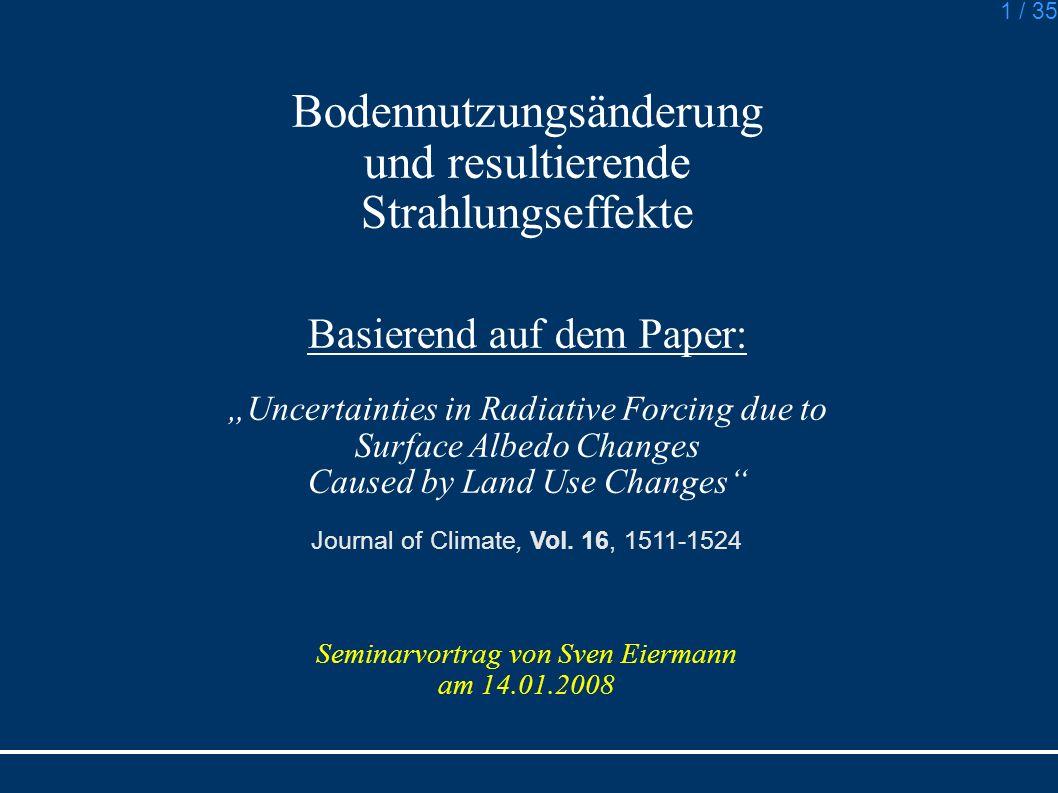 Bodennutzungsänderung und resultierende Strahlungseffekte