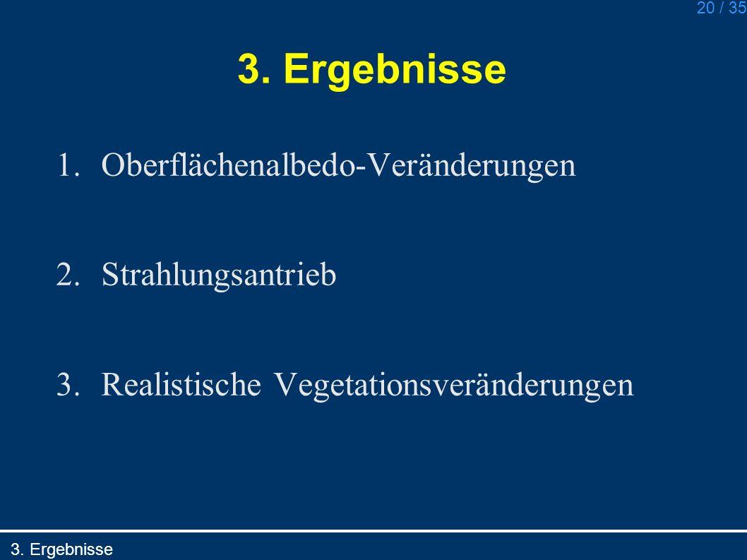 3. Ergebnisse Oberflächenalbedo-Veränderungen Strahlungsantrieb